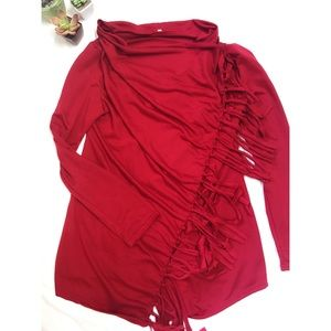 Tops - Red Wrap Fringe Top❤️ Size-Large